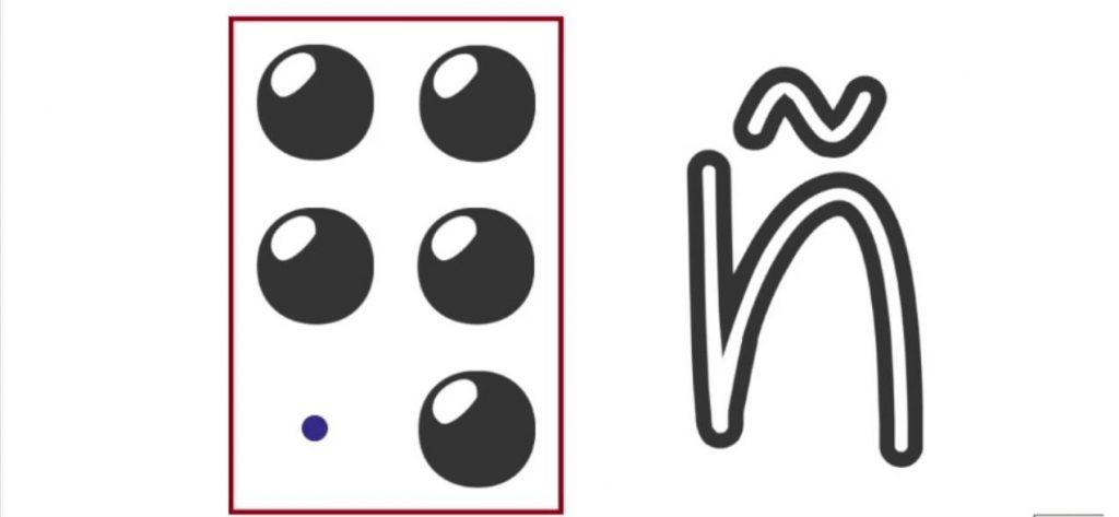 alfabeto a braille letra Ñ