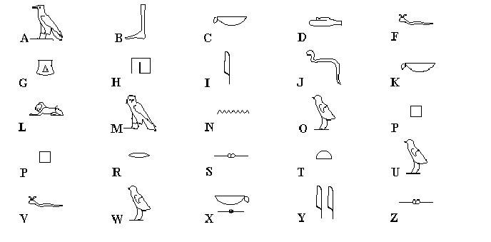 abecedario egipcio colorear